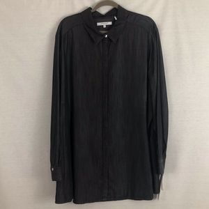 Foxcroft NYC Button Down Shirt Charcoal 24W NWT